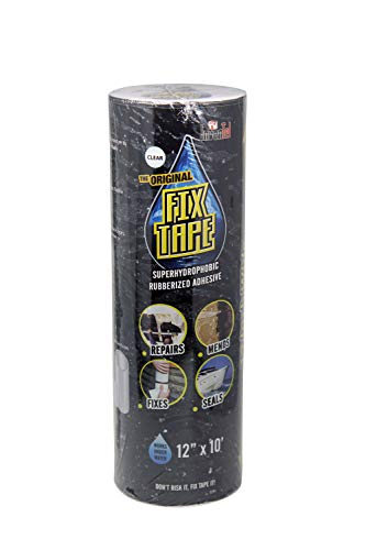 The Original Fix Tape (As Seen On TV), Rubberized Waterproof Adhesive Seal Tape, Patch and Repair Cracks, Pipes, Roof, Boat Leaks (Clear, 12 inches x 10 feet)