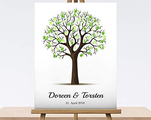 Fingerabdruck Baum zur Hochzeit Leinwand Hochzeitsgeschenk Hochzeitsbaum Wedding Tree 40x30 cm