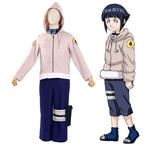 QQA Anime Hyūga Hinata Cosplay Kostüm Kapuzenuniform Outfit, Damen Leistungskleidung,Rosa,L