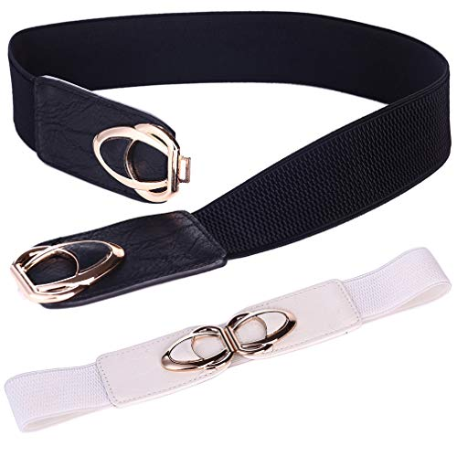 Beltox Womens Belts Elastic Stretch Cinch Plus Fashion Dress Belts for ladies(26'-43',Black and White 2 Pack)