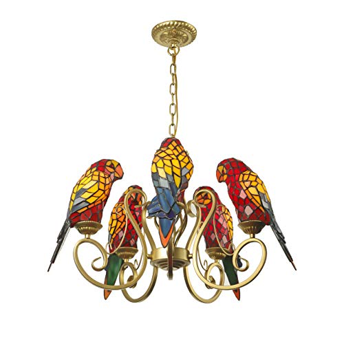 BAYCHEER Parrot Chandeliers Tiffany Pendant Lamp 5 Lights Chain Adjustable Industrial Lighting Stained Glass Shade Bird Ceiling Pendant Light Hanging Fixture for Kitchen, Bedroom, Restaurant in Red