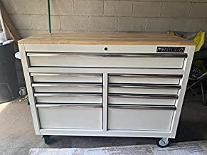 46 In. 9-Drawer Mobile Storage Cabinet With Solid Wood Top - White Workbench