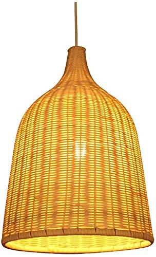 Suspension Rotin Osier Bambou, Abat Jour Osier Rotin Suspension, Traditionnel et Rustique pour Suspension. Fait Main Lustre en Rotin/Osier Tressé Nature. Rural Abat Jour Plafond Original (30*40cm)
