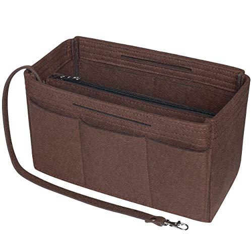 Soyizom Felt Tote Handbag Purse Organizer 2in1 Borsa Tote Insert Bag in borsa Borsa Liner Tote Organizer Sacchetto (caffè, Medio)