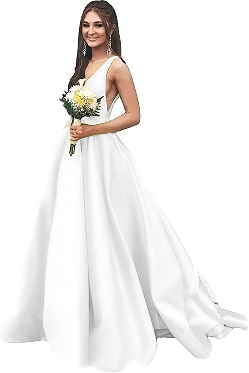 Rjer V Neck Satin Prom Dresses Long Ball Gown with Pockets Formal Dresses for Women