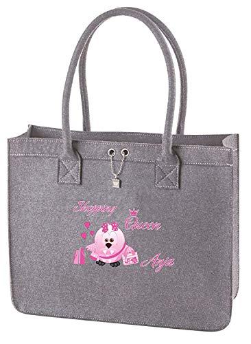 Mein Zwergenland Filztasche mit Namen Shopping Queen, 13 L, grau