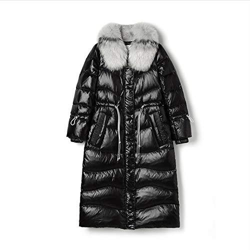 Große Echt Fox Pelz Kragen Winter Jacke Frauen Weibliche Beschichten unten Weiße Ente Unten Parka Mit Kapuze Winter Mantel Frauen wasserdicht,Black,L