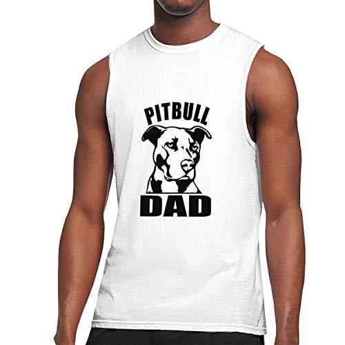 TYUHN Camiseta sin Mangas para Hombre Pitbull Dad Muscle, Camiseta sin Mangas basal para Gimnasio Deportivo de Verano