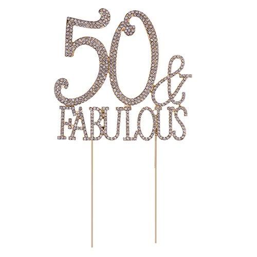 STOBOK Kuchen Topper Strass 50 Fabulous Kuchendeckel Kuchendekoration Jahrestag Geburtstag Party Zubehör (Golden)