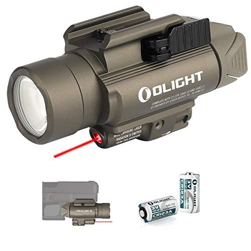 Olight Baldr RL - Linterna de bolsillo con luz roja para actividades tácticas de policía militar, con 2 pilas CR123A + caja de batería (Desert Tan)
