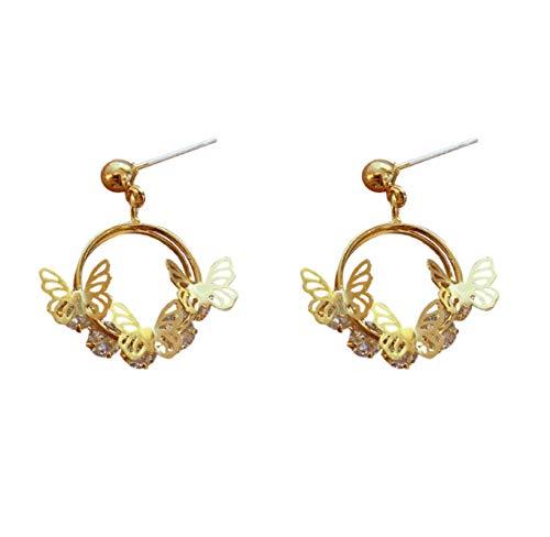 RR-CZY Geometric Circular Butterfly Fashion Personality Earrings 2Cm