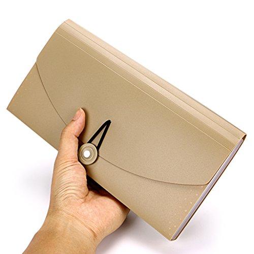 BTSKY Expanding File Folder –New 13 Pockets Small Accordion File Folder Expandable Card Ticket Holder File Storage Folder Check Bill File Folder Plastic Business Document Organizer Wallet Case(Khaki) Photo #6