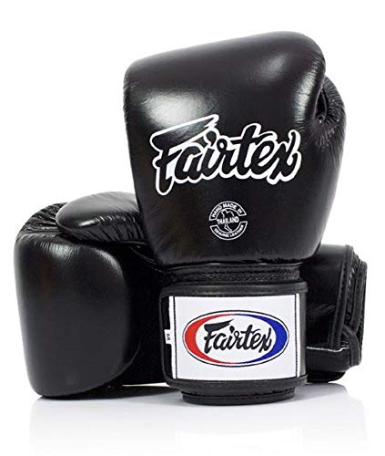 Fairtex Muay Thai Boxing Gloves. BGV1-BR Breathable Gloves. Color: Solid Black. Size:...