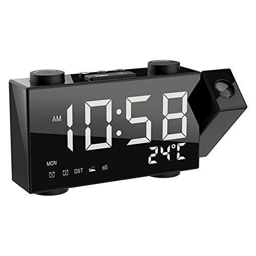 Projektionswecker Digitalradio-Wecker mit Doppelalarm-Schlummerfunktion Einstellbare Helligkeit USB-Ladetemperatur für Schlafzimmer Küche Büro-Weiß