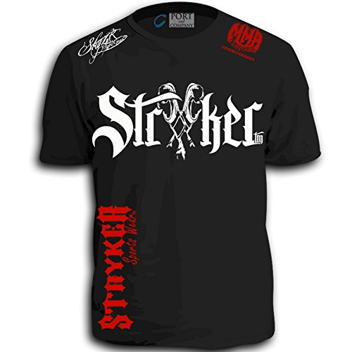 Stryker MMA Gloves Shorts Sleeve T-Shirt Top Tapout UFC Brazilian Jiu Jitsu (Large) Black