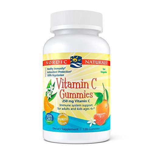 Nordic Naturals Vitamin C Gummies, Tart Tangerine - 120 Gummies - 250 mg Vitamin C - Immune Support, Antioxidant Protection, Child Growth & Development - Non-GMO, Vegan - 60 Servings