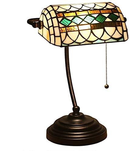 Tiffany Style Lámpara de mesa de mesa de banquero simple retro color patrón de pantalla, 15 pulgadas hecha a mano vintage escritorio de cristal de vidrio con base de aleación de zinc para la sala de e
