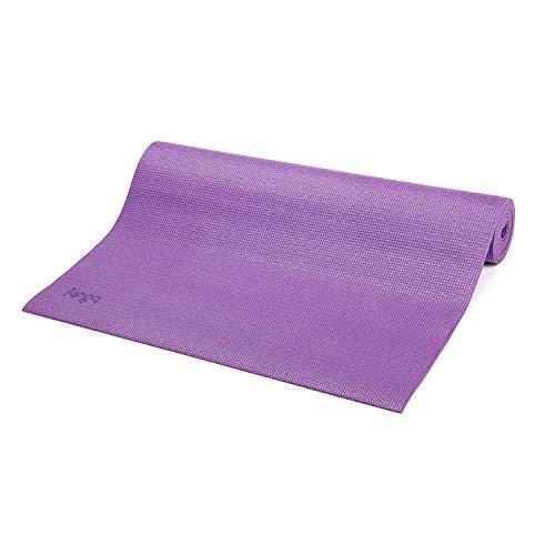 Bodhi Yoga-Matte ASANA aus PVC, schadstofffrei, rutschfest, waschbar, perfekt für Einsteiger, Fitness- und Pilates-Matte, 183 x 60 cm, 4mm, lila