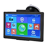 Navegador GPS, 7 pulgadas Navegador GPS para automóvil 8 GB ROM 256 MB RAM Mapa sin Bluetooth 30 idiomas Cargador de automóvil para automóvil/camión/peatón/ambulancia/autobús/taxi