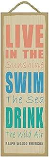 SJT ENTERPRISES, INC. Live in The Sunshine, Swim The sea, Drink The Wild air - Ralph Waldo Emerson Beach Primitive Wood Plaque Sign, 5