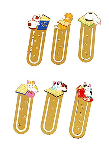 Starte 6Pcs Funny Cute Cat Theme Metal Bookmark for Cat Lovers Book Marker Lovely School Office Supplies for Kids