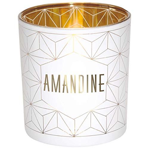 Photophore prénom en Verre Blanc et Or - Amandine - Draeger