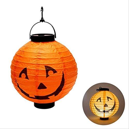 PMWLKJ 4 Farben Faltbare Led Papier Kürbis Laterne Halloween Fledermaus Spinne Schädel Outdoor Hängelampe Lampe 20 cm * 22 cm YW