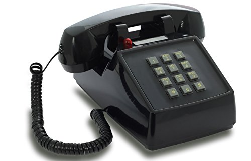 OPIS PushMeFon cable: 1970s inspired fixed-line push-button retro telephone with classic metal bell ringer (black)