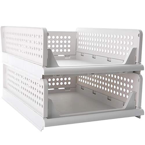 Pinkpum - Cesta de almacenamiento apilable de plástico para armario, plegable, 2 cajones, para armario, cocina, baño, oficina, S