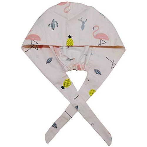 PRETYZOOM Scrub Cap OP Haube Kochhaube Verstellbar Baumwolle Flamingo Muster Chirurgische Kappe Kochmütze Peeling Kappe Medical Cap für Frauen Männer Ärzte Küche 2 Stück