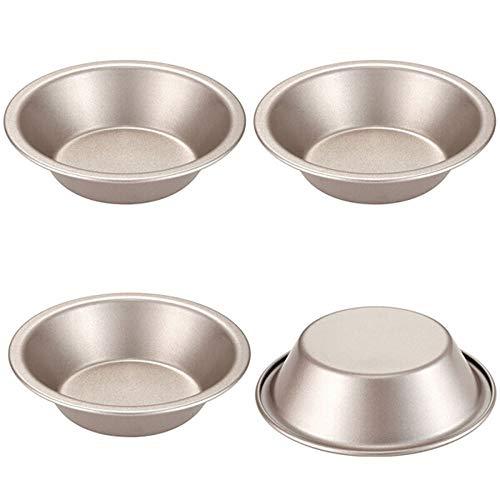 Hging Mini Pie Pan Set, 5 pouces 4 pcs Pain rond et cuisson à la viande pour four pour four et cuisson en pot instantané (Champagne Gold)