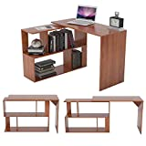 Zoyo Wooden L Shaped <span class='highlight'>Corner</span> Computer <span class='highlight'>Desk</span> for Small Spaces with Shelves 360° Rotating for <span class='highlight'>Home</span> <span class='highlight'>Corner</span> Laptop Table Workstation Writing <span class='highlight'>Desk</span> (Walnut L shaped)