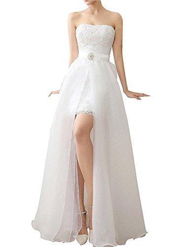 AZNA Damen High Low Two Pieces Lace Brautkleid mit abnehmbarem Rock Hochzeitskleid Elfenbein 40