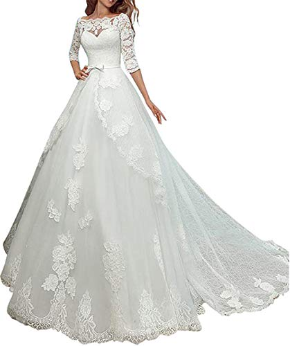 Meganbridal Women's 2 Piece Off Shoulder Lace Applique Half Sleeves Wedding Dresses with Detachable Bolero for Bride White
