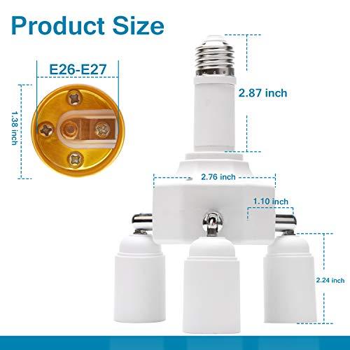 JACKYLED Light Socket Splitter 4 in 1 Lengthen E26 E27 Base Adapter Converter for Home Office Basement