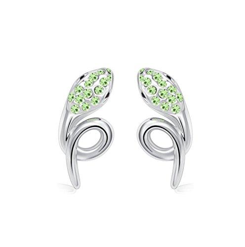 Winter's Secret Pendientes de tuerca de cristal verde serpiente estereoscópico con detalles de diamantes de plata
