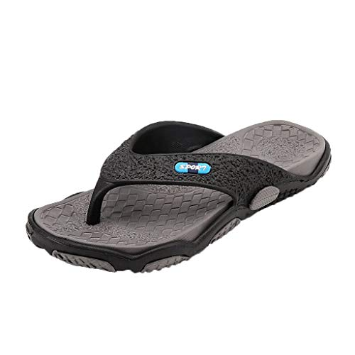 NEARTIME Men's Summer Open Toe Slippers,Casual Anti-Slip Massage Bathroom Flip Flops Quick Drying Beach Sandals Shoes Grey