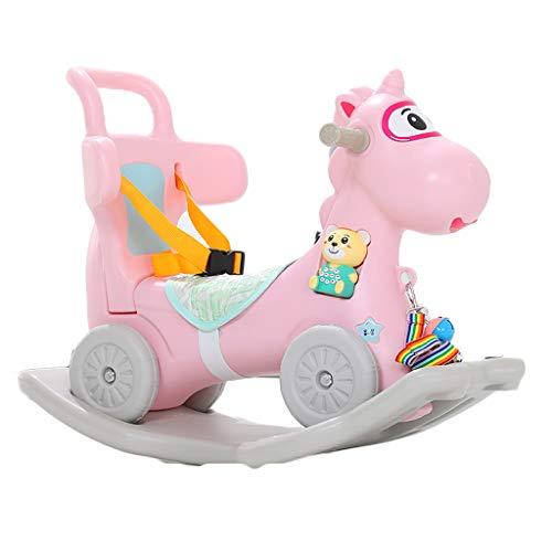 Schaukelpferd Trojan Kinder Plastikschaukel Wiegen EIN Jähriges Baby Spielzeug Kleine Dual-use 0-1 Geburtstag Schaukelspielzeug HUYP (Color : Pink)