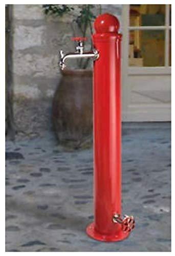 BEL-FER Fontana Stile idrante in Ferro Modello 42/ID, Completa di impianto e Doppio Rubinetto, di Colore Rosso