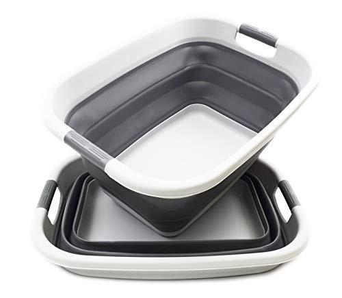 SAMMART Set of 2 Collapsible Plastic Laundry Basket - Foldable Pop Up Storage Container  Organizer - Portable Washing Tub - Space Saving Hamper  Basket 2 Light Grey