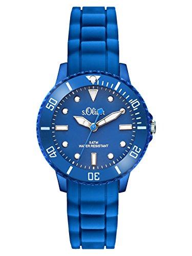 s.Oliver Time Unisex Quarz Uhr mit Silikon Armband, Größe XS für Kinder- bzw. Damen, blau