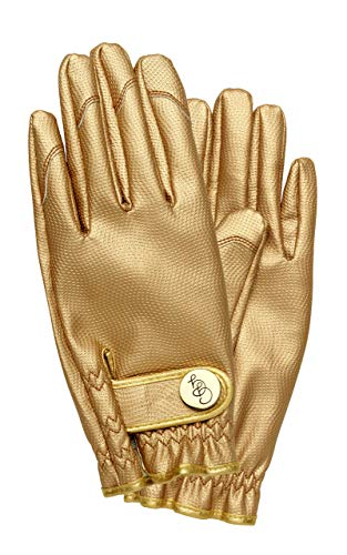 Golden Gardening Gloves - The Gold Digger - Premium Water and Dirt Repellent Designer Working Gloves Available In Different Sizes (Small, Gold)