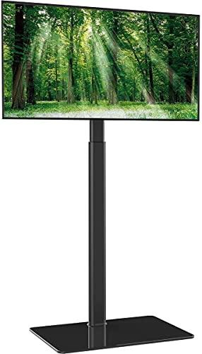 TV Bodenständer TV Standfuß TV Ständer Fernsehstand Glas höhenverstellbar schwenkbar für 19 bis 42 Zoll Flachbildschirm