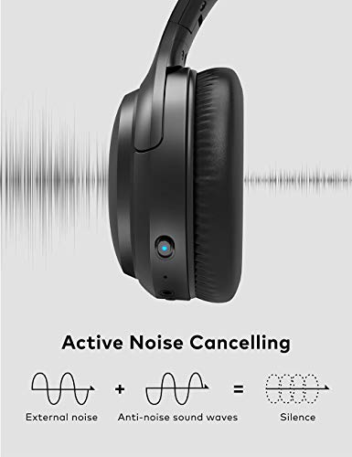 Active Noise Cancelling Headphones  Bluetooth 5.0 Over Ear Wireless Headphones with Mic Deep Bass 5