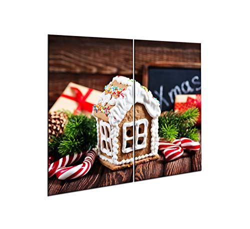 CTC-Trade |Herdabdeckplatten Set 2x30x52 cm Ceranfeld Abdeckung Glas Spritzschutz Abdeckplatte Glasplatte Herd Ceranfeldabdeckung Weihnachten
