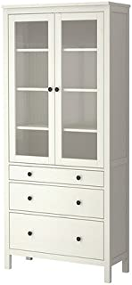Ikea Glass-door cabinet with 3 drawers, white stain 1626.51117.3814