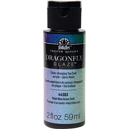 PLAID ENTERPRISES, INC. 44383 Violet Green Dragonfly Glaze 2 Folkart Farbwechsel VIO/BLU/GR, Violett, Blau, Grün, 2oz/59ml
