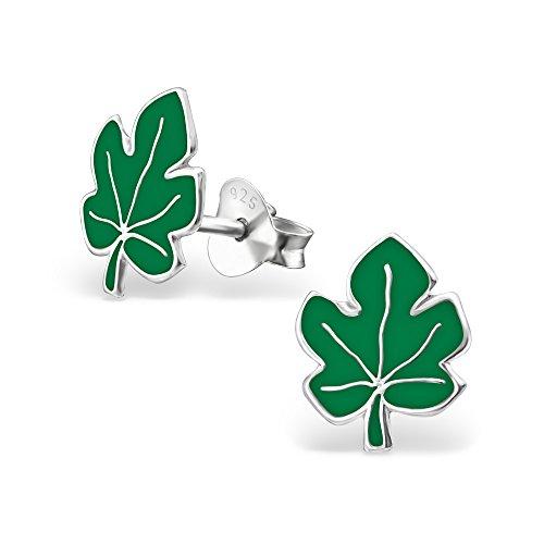 Laimons Bijou pour femme boucles d'oreilles pour femme feuille feuille d'érable brillant vert argent sterling 925