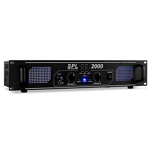 Skytec SPL 2000 - Amplificador de audio (2.0, 0,5%, 95 Db, Banana, 230 V, 50 Hz)
