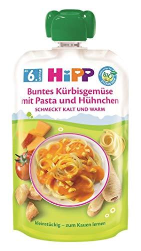 Hipp Bio Herzhafte Menü-Quetschbeutel ab 6. Monat Buntes Kürbisgemüse mit Pasta und Hühnchen, 6er Pack (6 x 130 g)